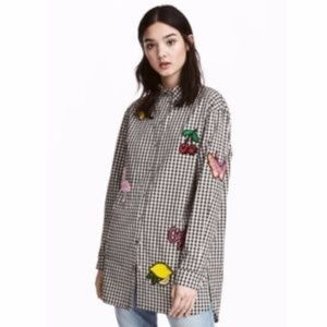 Halloween??? H&M Gingham Shirt w/ Sequin Patches